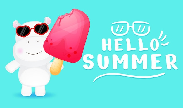 Cute little hippo holding big ice cream with summer greeting banner
