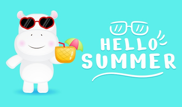 Cute little hippo holding pineapple juice with summer greeting banner