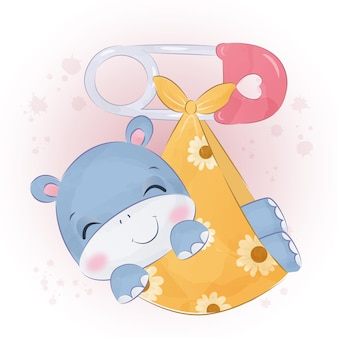 수채화에 귀여운 작은 하마 그림