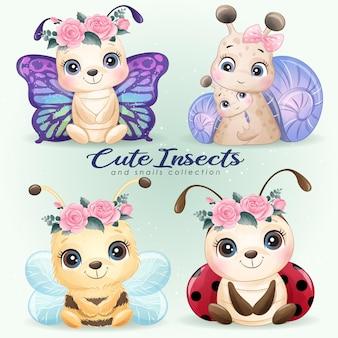 かわいい小さな昆虫と小さなカタツムリの水彩イラストセット