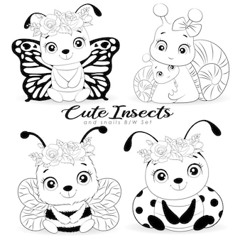 Piccoli insetti svegli e piccola lumaca con raccolta di contorni