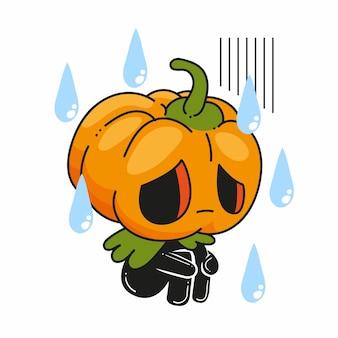 Милый маленький джек о фонарь грустная поза, хэллоуин джек о фонарь