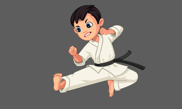 Cute little karate boy in karate pose 2
