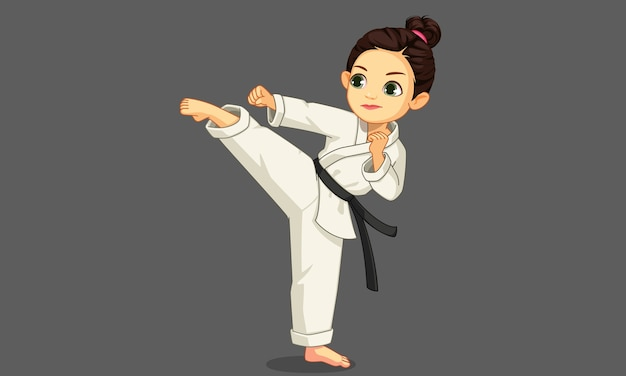 Cute little karate girl in karate pose illustration