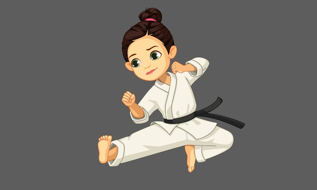 Cute little karate girl in karate