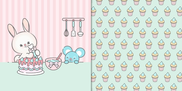 Cute little kawaii bunny and mouse decorating a birthday cake with cupcakes seamless pattern
