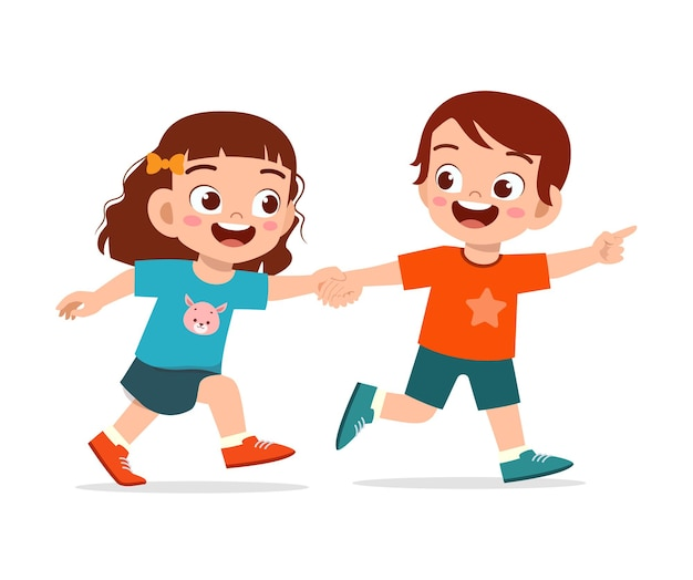 Cute little kid boy and girl holding hand and walking together