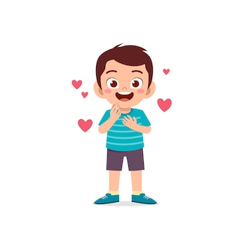 Cute little kid boy show love and kiss pose expression