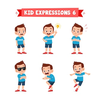 Cute little kid boy in various expressions and gesture set