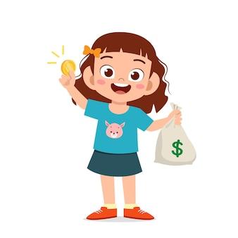 귀여운 꼬마 소녀 현금 및 동전 그림의 가방을 들고