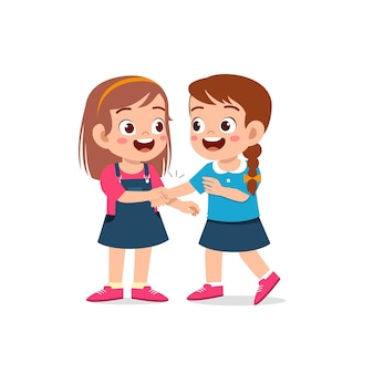 Cute little kid girl do hand shake with her friend