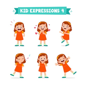 다양한 표정과 제스처 세트에 귀여운 꼬마 소녀