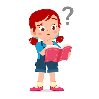 Cute little kid girl read book and confused with question mark