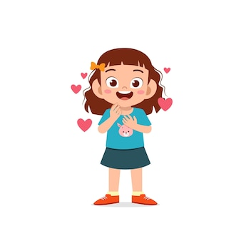 Cute little kid girl show love and happy pose expression