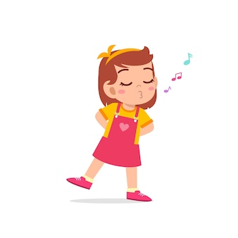 かわいい小さな子供の女の子が立って口笛を吹く