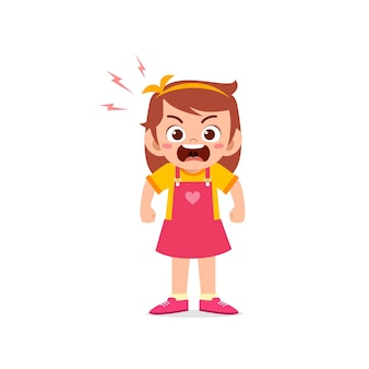 Cute little kid girl stand and show angry pose expression