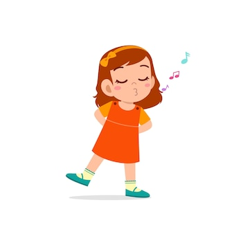 Cute little kid girl stand and whistling with mouth
