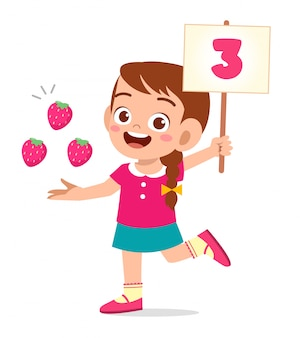 Cute little kid girl study math number count vegetable
