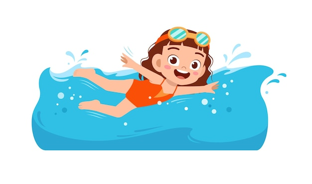 かわいい小さな子供の女の子は夏休みに水の下で泳ぐ