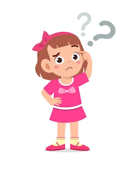 Cute little kid girl think with question mark