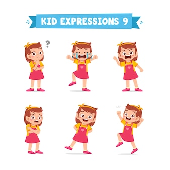 Cute little kid girl in various expressions and gesture set