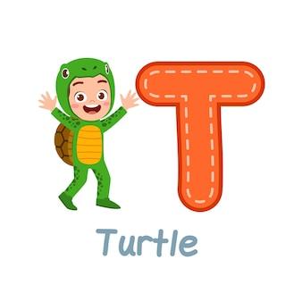알파벳 배우기위한 귀여운 꼬마 복장 의상