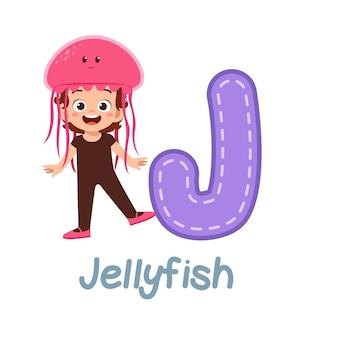 Cute little kid wear costume for learn alphabet