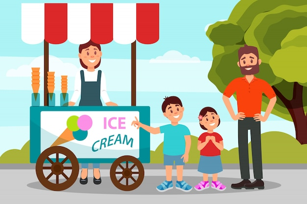 Симпатичные маленькие дети просят отца купить мороженое. папа, проводить время с дочерью и сыном в городском парке. плоский дизайн