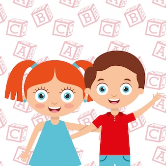 Cute little kids boy and girl embrace friends with alphabet blocks background