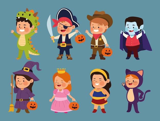 Симпатичные маленькие дети, одетые как разные персонажи, векторная иллюстрация дизайн
