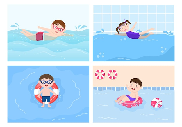 Cute little kids swimming background vector illustration in flat cartoon style. people dressed swimwear, swim in summer and performing water activities