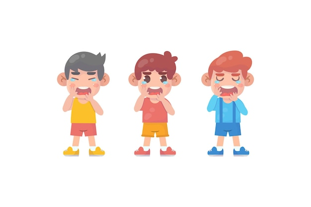 Cute little kids with crying and tantrum expression premium vector