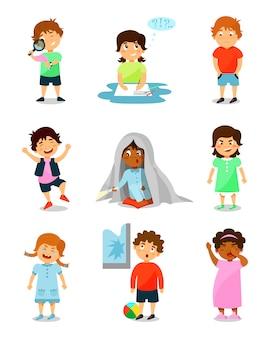 さまざまな感情でかわいい小さな子供セット、思考、幸せ、怖い、怒って、泣いて、眠そうな男の子と女の子のイラスト白い背景の上