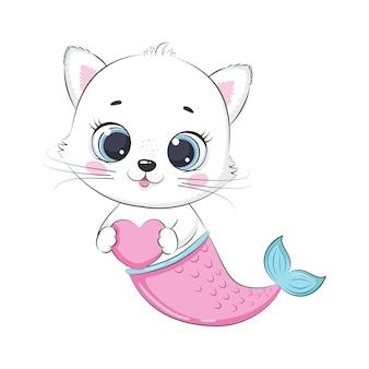 かわいい子猫と人魚。サイレン。