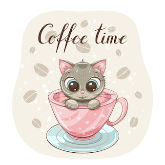 Cute little kitten in pink coffe cup with