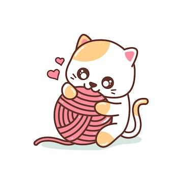 원사 공 일러스트와 함께 노는 귀여운 작은 새끼 고양이