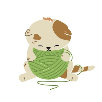 Cute little kitten sleeps among a ball of yarn. very tired, exhausted cat. flat illustration.