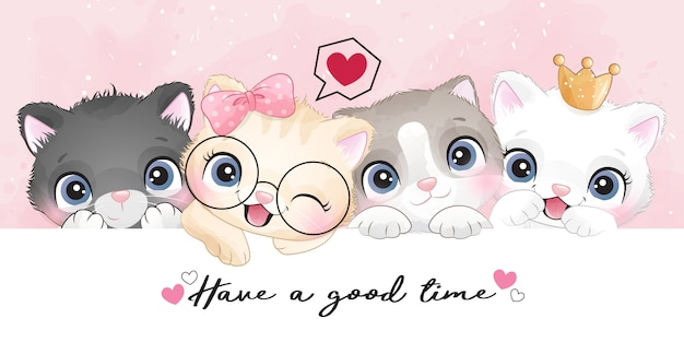 Cute little kittens with watercolor effect illustration