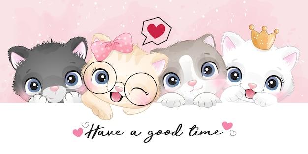Симпатичные маленькие котята с эффектом акварели иллюстрации
