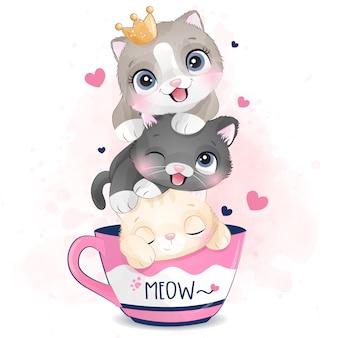 수채화 효과 일러스트와 함께 귀여운 작은 새끼 고양이