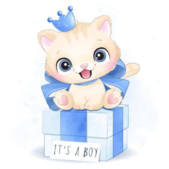 ギフトボックスの図に座っているかわいい子猫少年