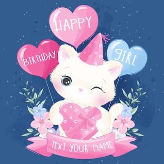 Милый маленький котенок празднует день рождения