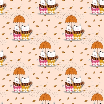 Cute little kitty couple seamless pattern