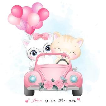 水彩イラストで車を運転してかわいい子猫