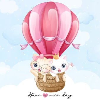 Cute little kitty flying with air balloon illustration