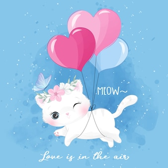 Cute little kitty flying with balloon