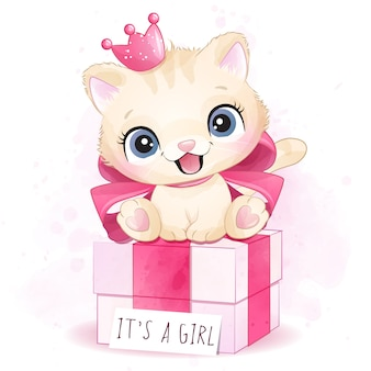 Cute little kitty girl sitting in the gift box illustration
