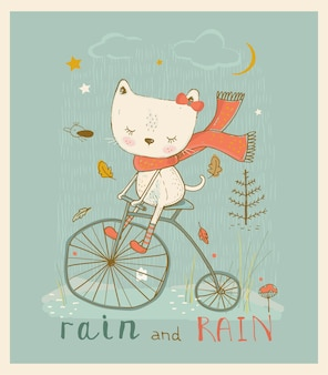 Cute little kitty riding on bicycle hand drawn vector illustration
