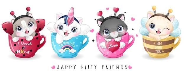 水彩イラストとカップの中に座っているかわいい子猫