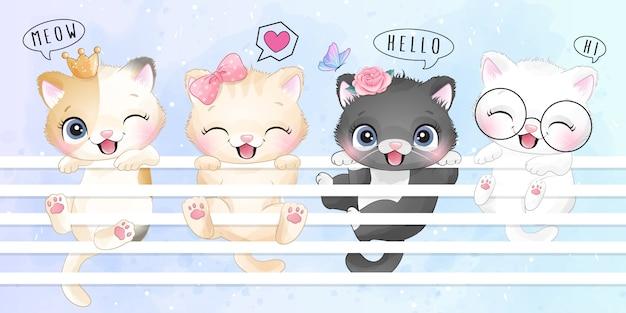 Милый маленький котенок с акварельной иллюстрацией